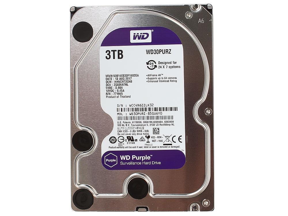 Внутренний жесткий диск Western Digital 3Tb Purple (WD30PURZ)