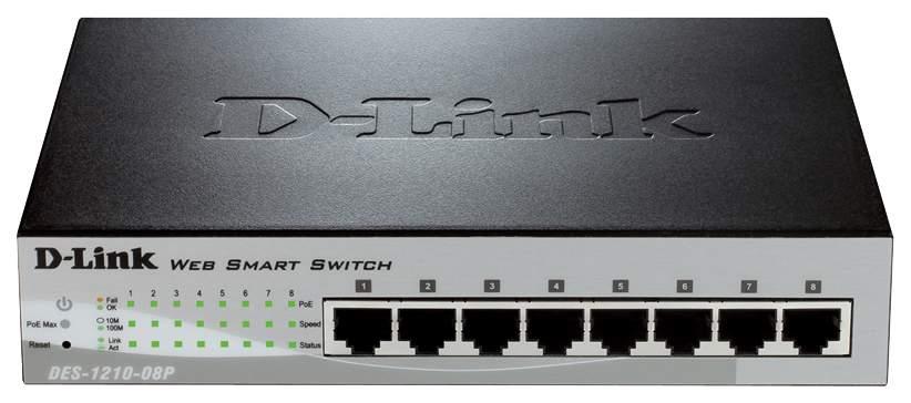 Коммутатор D-Link Web Smart DES-1210-08P Grey/Black
