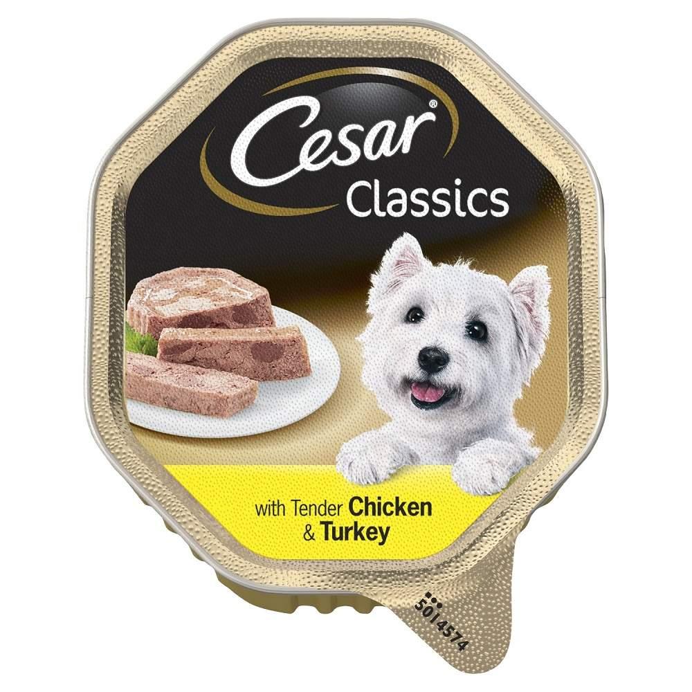 Консервы для собак Cesar, с нежной курицей и индейкой, 7шт, 150г