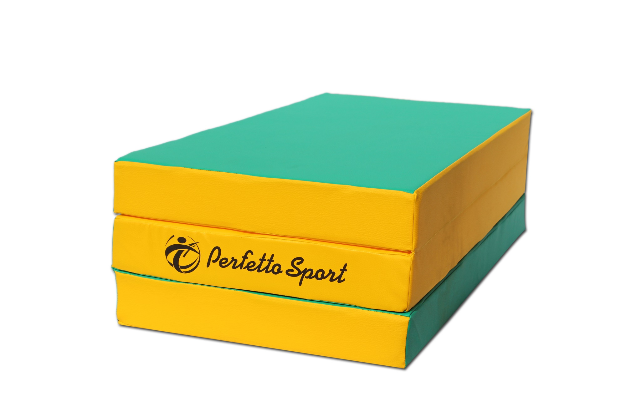 """Мат № 4 (100 х 150 х 10) складной """"PERFETTO SPORT"""" зелёно/жёлтый"""