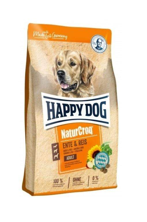 Миниатюра Сухой корм для собак Happy Dog, для улучшения состояния кожи и шерсти, утка, рис, 12кг №1