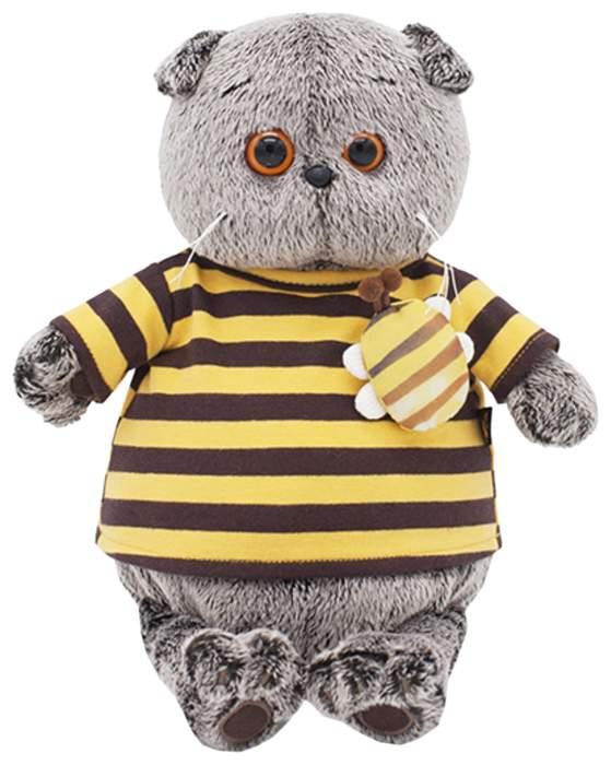 Мягкая игрушка BUDI BASA Басик в полосатой футболке с пчелой, 19 см