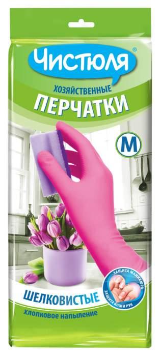 Перчатки для уборки ЧИСТЮЛЯ хозяйственные из латекса с хлопковым напылением размер M