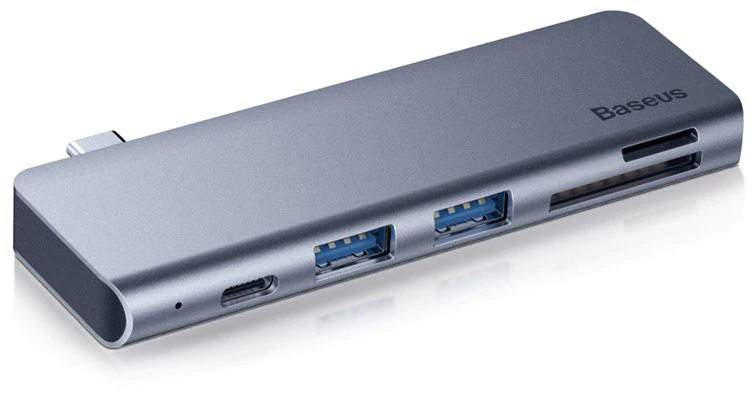 USB-концентратор Baseus Type-C to USB30x2/SD/TF/Type-C PD (CAHUB-K0G) для MacBook Pro
