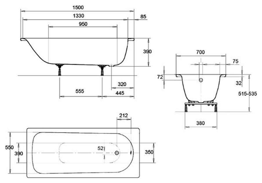 Акриловая ванна KALDEWEI Eurowa Form Plus 150х70 без гидромассажа