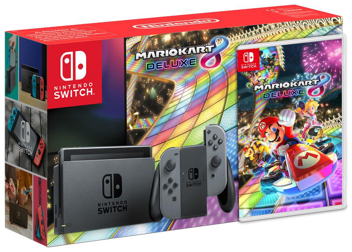 Портативная игровая консоль Nintendo Switch Gray + Mario Kart 8 Deluxe
