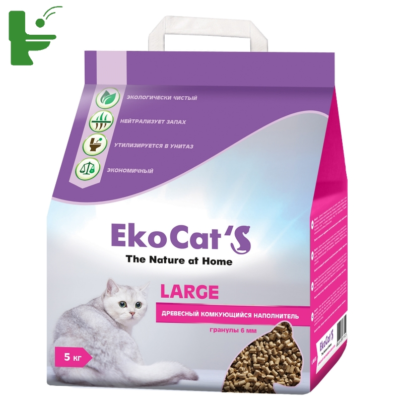 Комкующийся наполнитель для кошек Eko Cat's Large древесный, 5 кг