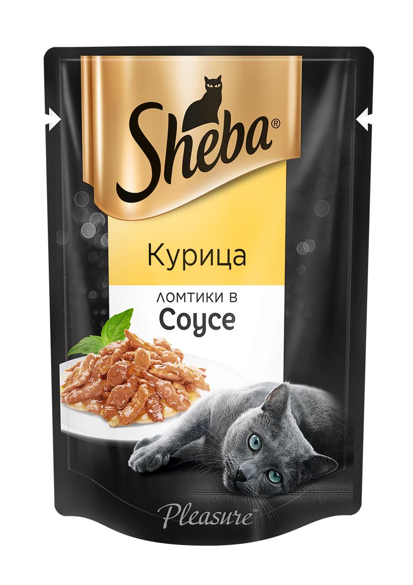 Влажный корм для кошек Sheba, ломтики в соусе, курица, 85 г