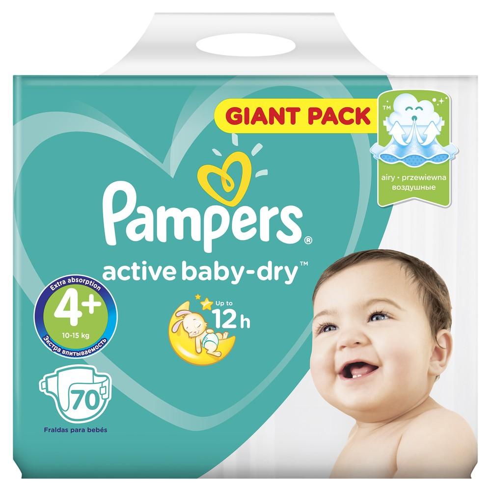 Подгузники Pampers Active Baby-Dry Maxi+ 10-15 кг 70 шт.