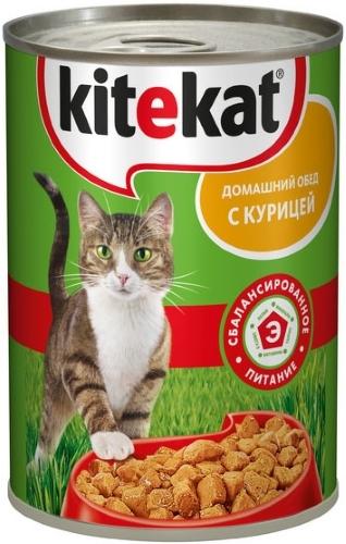 Консервы для кошек KiteKat Домашний обед, с курицей, 410г