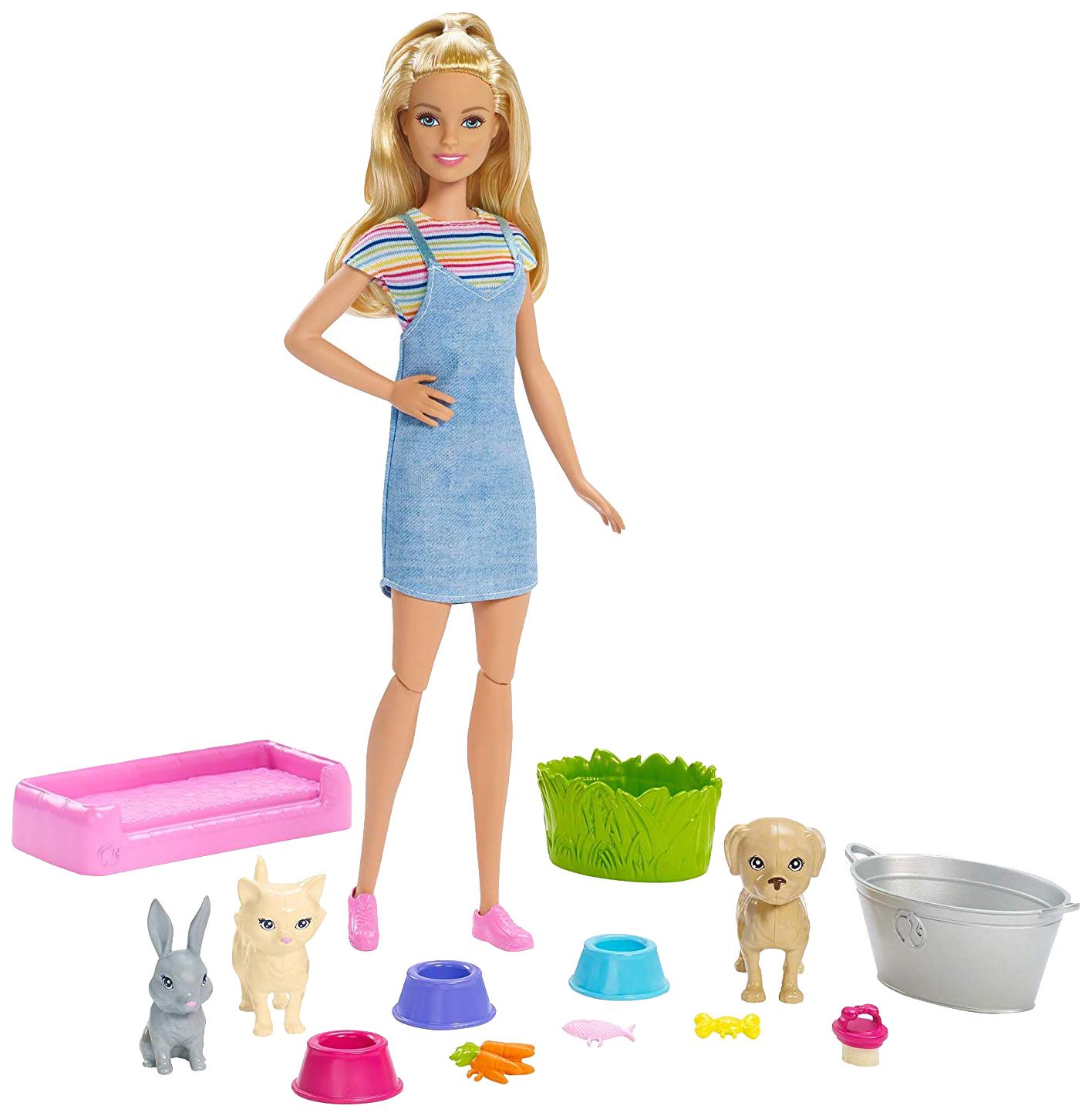 """Миниатюра Игровой набор """"Барби"""" - Блондинка с питомцами, меняющими цвет Mattel №1"""