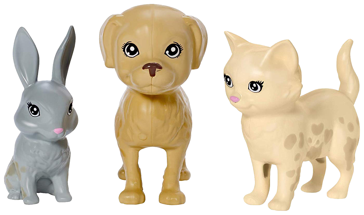 """Миниатюра Игровой набор """"Барби"""" - Блондинка с питомцами, меняющими цвет Mattel №5"""