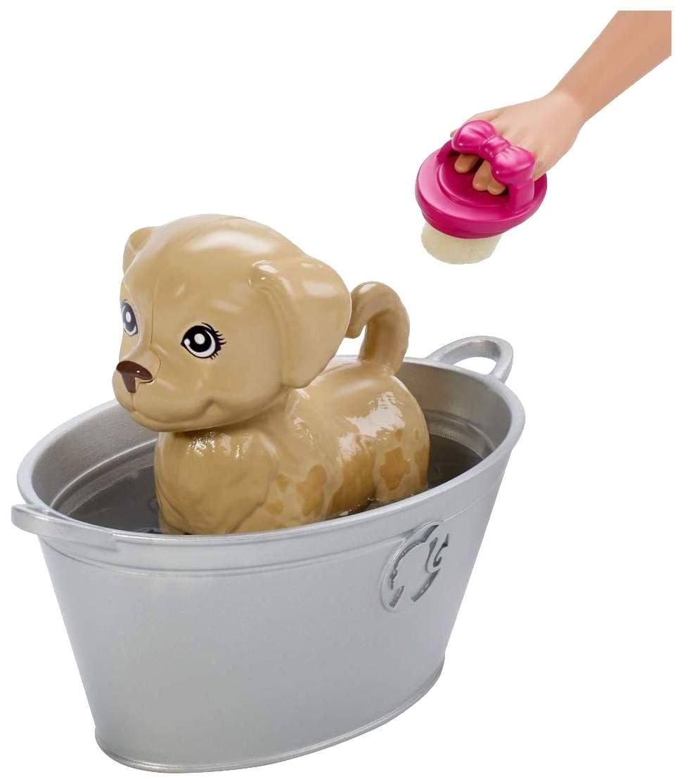 """Миниатюра Игровой набор """"Барби"""" - Блондинка с питомцами, меняющими цвет Mattel №7"""