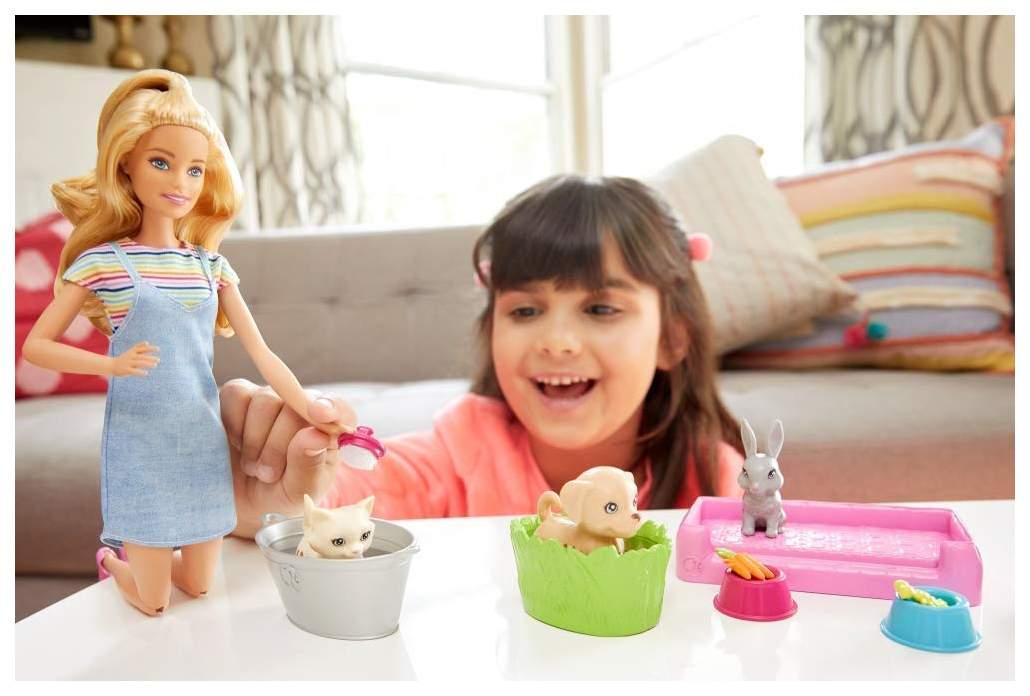 """Миниатюра Игровой набор """"Барби"""" - Блондинка с питомцами, меняющими цвет Mattel №10"""