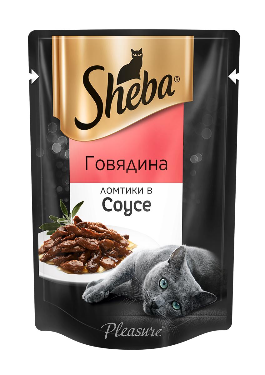 Миниатюра Влажный корм для кошек Sheba, ломтики в соусе, говядина, 85 г №1