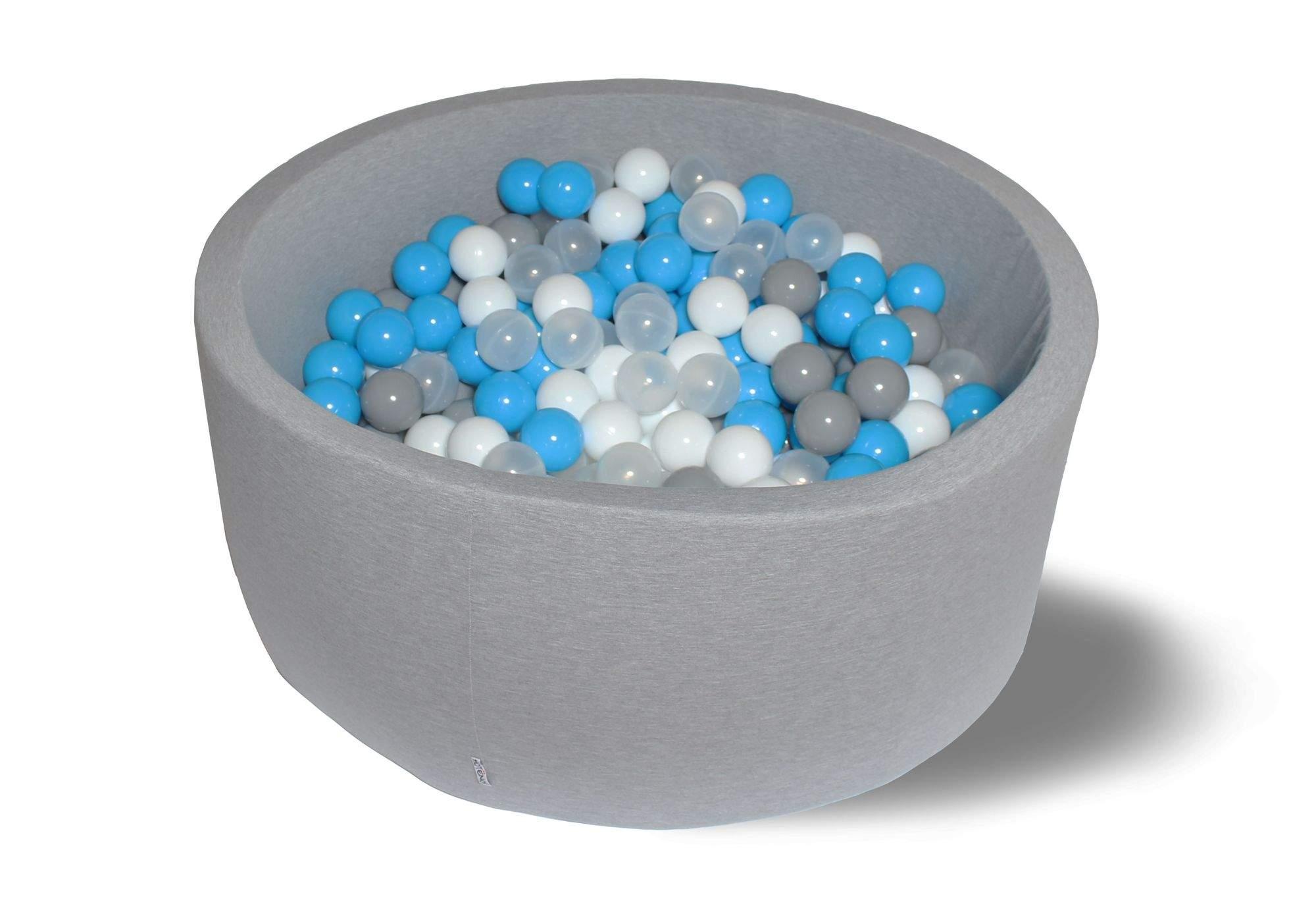 Сухой бассейн Небеса 40см с 200 шариками: серый, белый, прозрачный, голубой