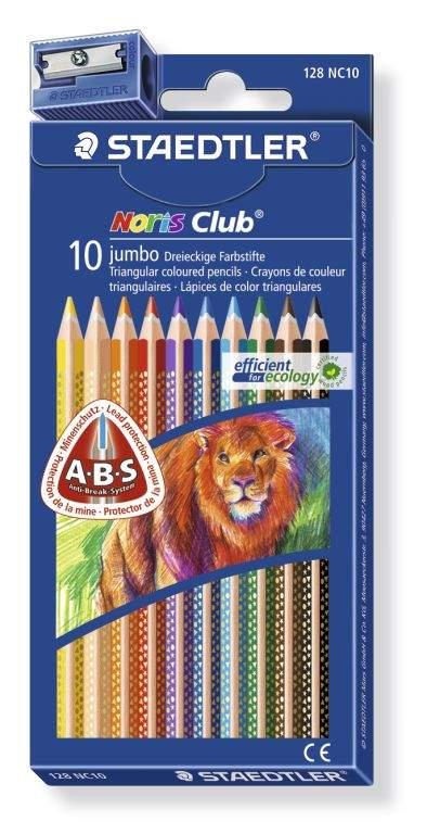 Карандаши цветные NorisClub трехгранные Jumbo 10 цв. с точилкой