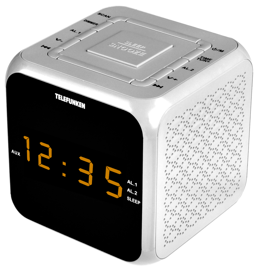 Радио-часы Telefunken TF-1571 Белый с янтарным