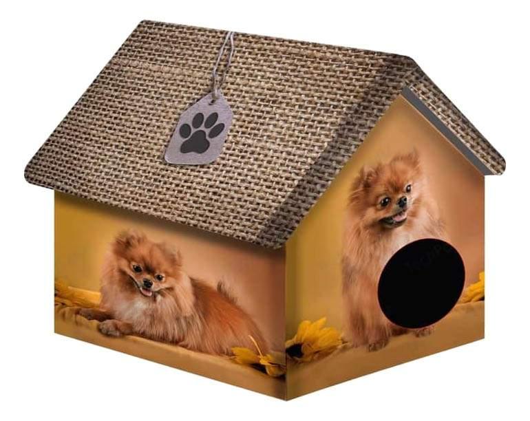Домик для собак PerseiLine Дизайн серый, бежевый, желтый