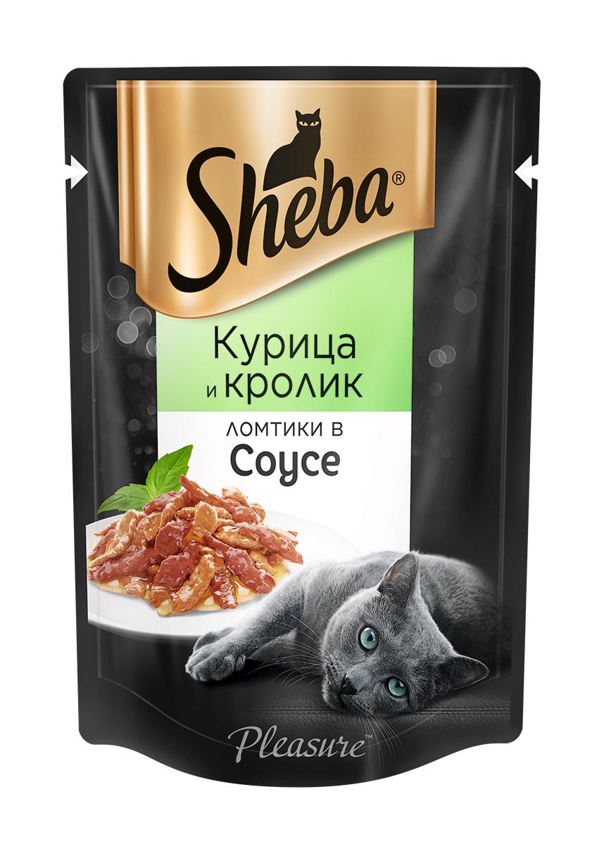 Миниатюра Влажный корм для кошек Sheba Pleasure ломтики из курицы и кролика в соусе, 85г х 24шт №1