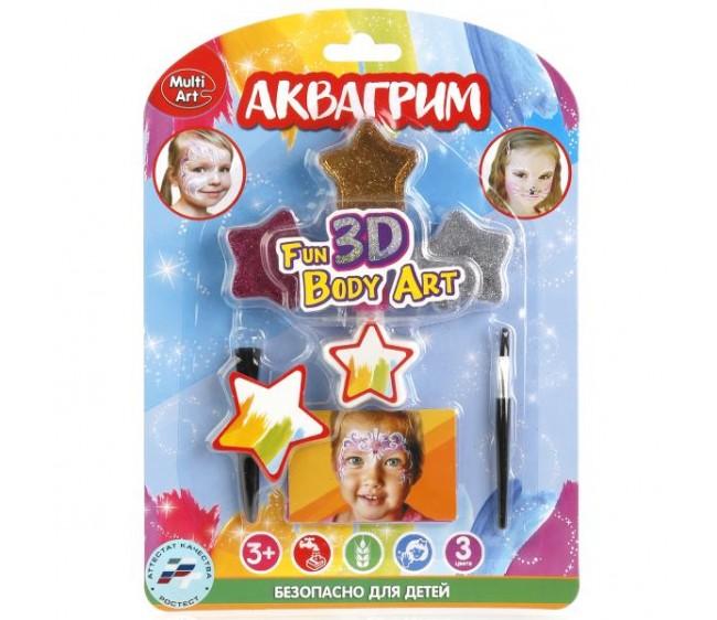 Аквагрим & Тату MultiArt: блестки 3 цвета, 2 кисточки, 2 трафарета для тату на блистере