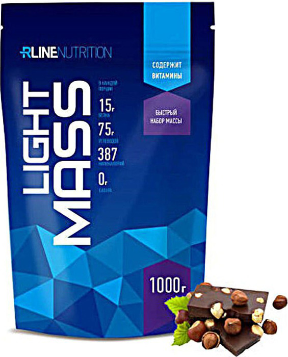 Гейнер Rline Light Mass 1000 г шоколад-орех