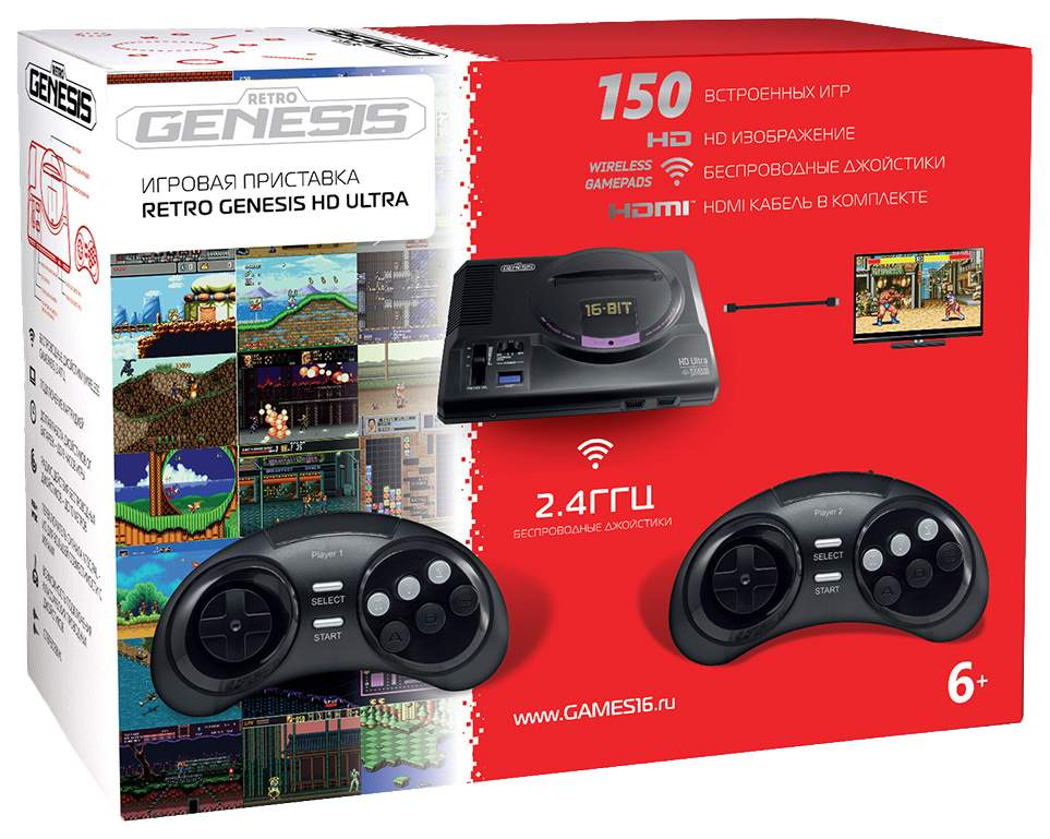 Игровая приставка SEGA Retro Genesis HD Ultra ConSkDn70 Черный +150 игр