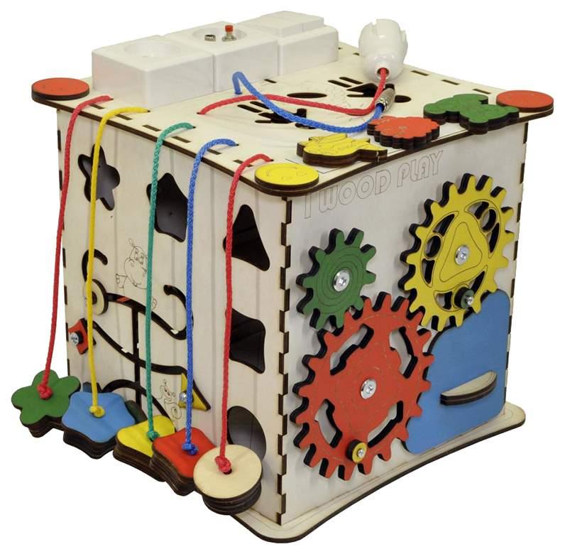 Развивающий куб IWOODPLAY 25 см с электрикой арт. igk-02-01