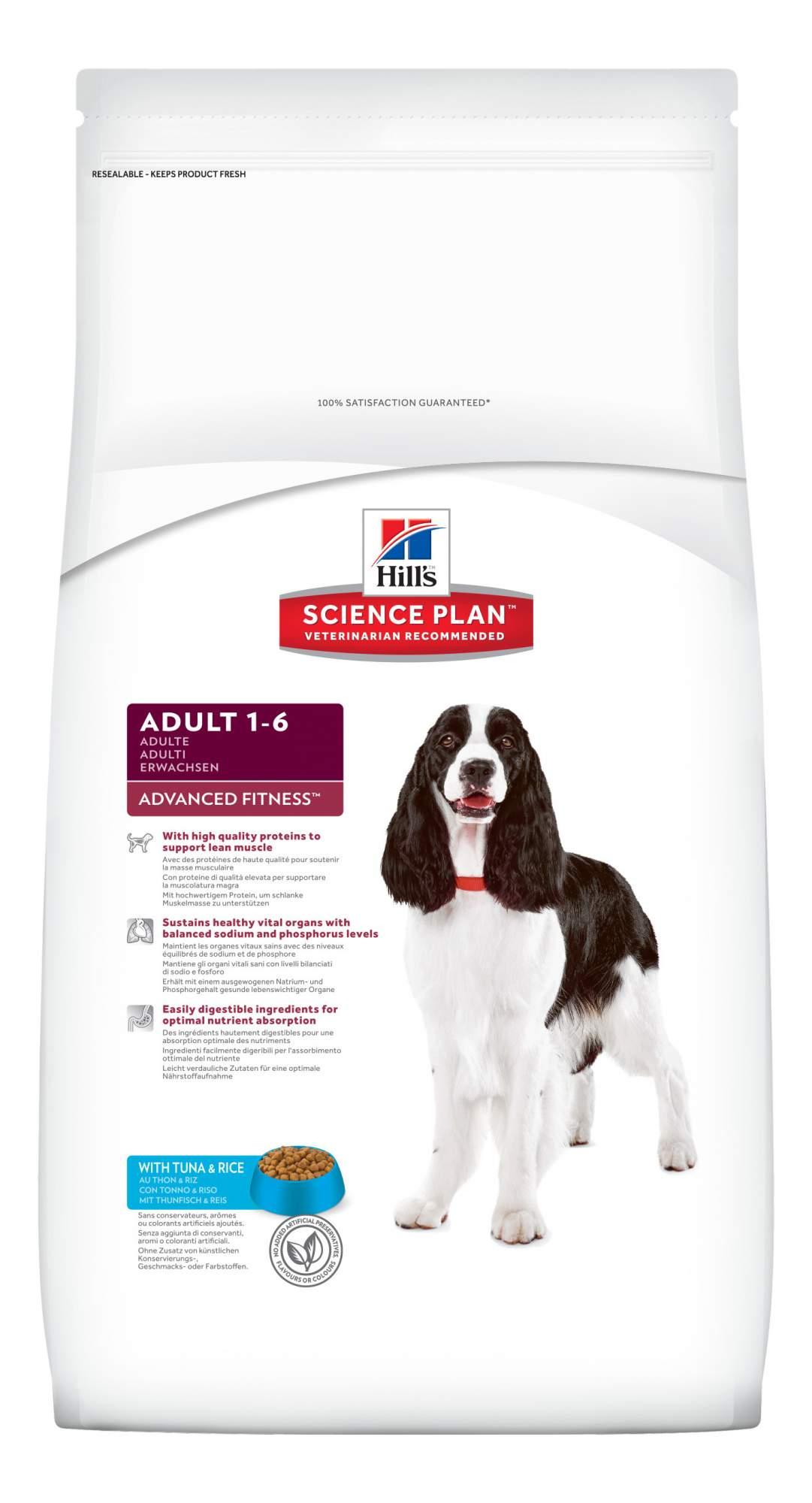 Сухой корм для собак Hill's Science Plan Adult Advanced Fitness Medium, тунец, рис, 12кг