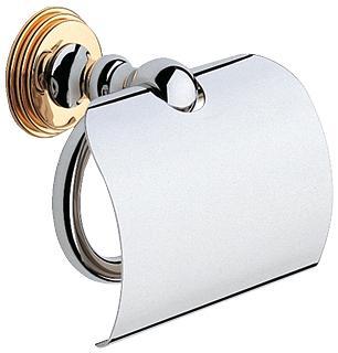 Держатель туалетной бумаги GROHE Sinfonia с крышкой, хром/золото