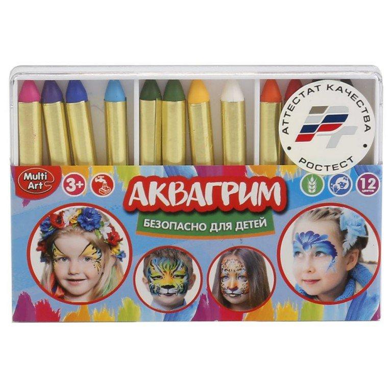 Аквагрим MultiArt 12 цв, карандашей