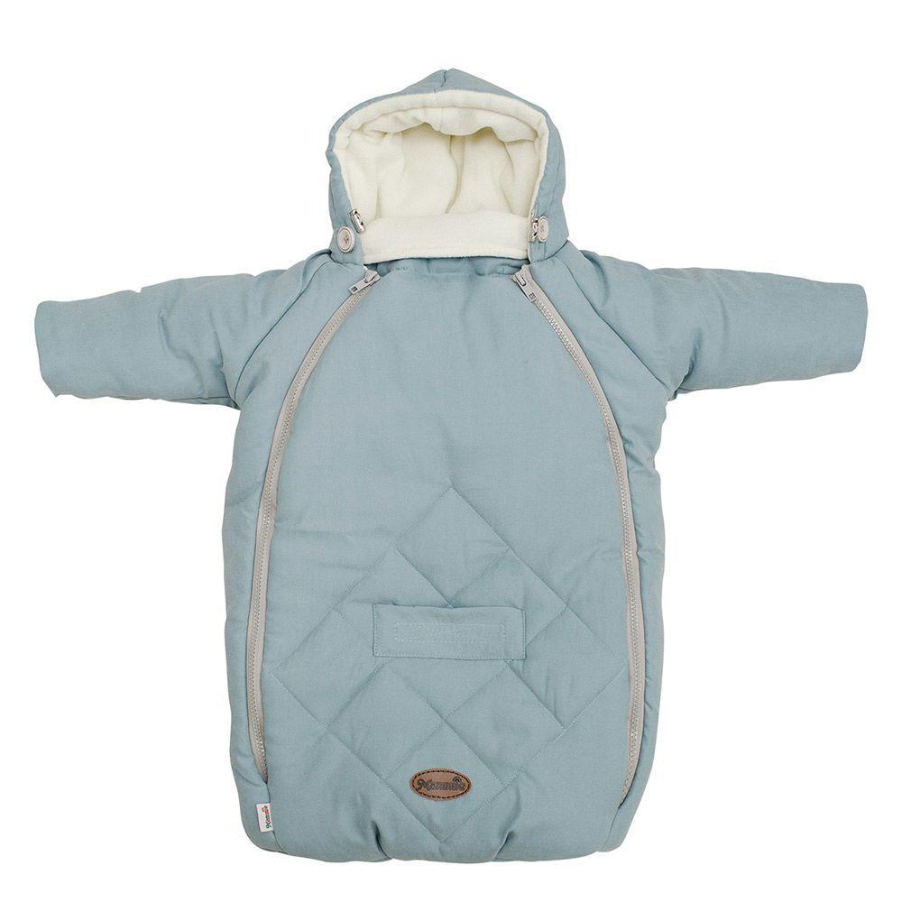 MAMMIE Конверт для новорожденного с капюшоном Голубой экозамша Осе-Зима 0- 6 мес