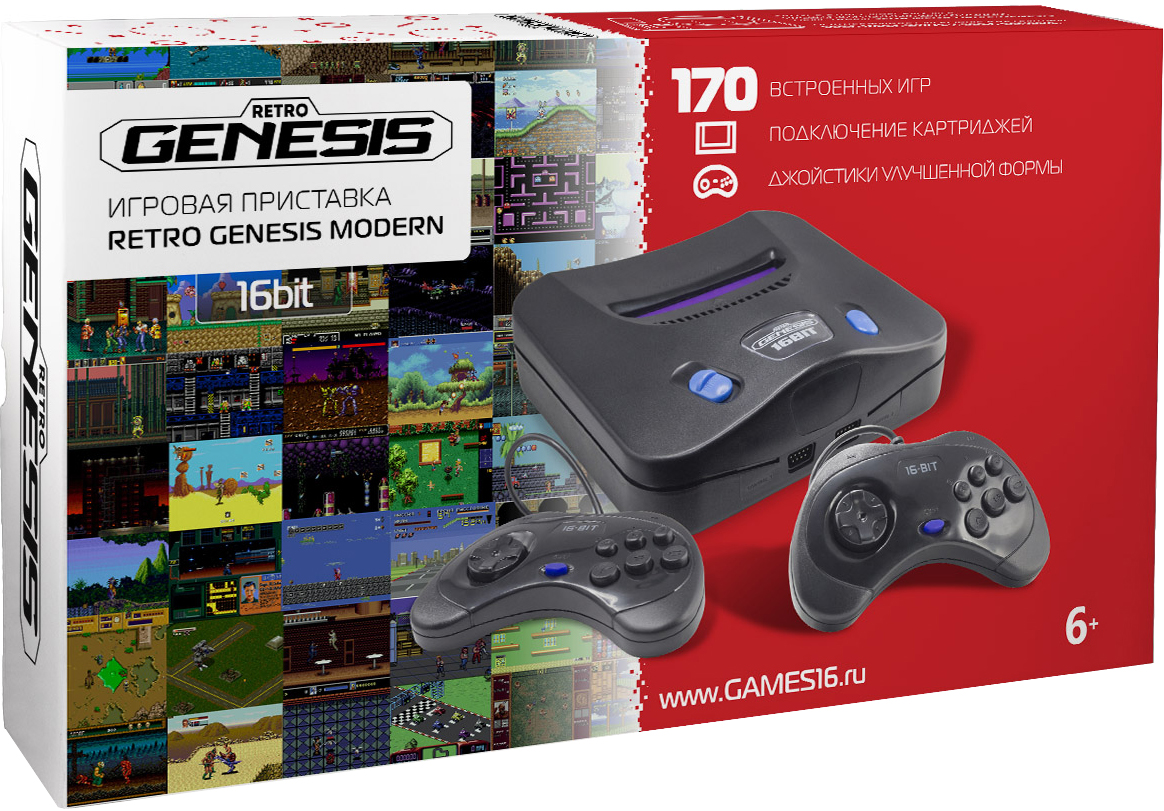 Игровая приставка SEGA Retro Genesis Modern ConSkDn56 Черный +170 игр