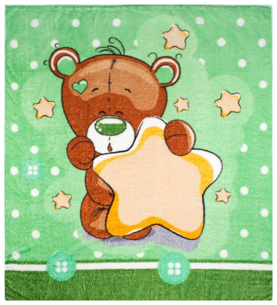 Одеяло детское Крошкин дом Мишка со звездами салатовый 100х110