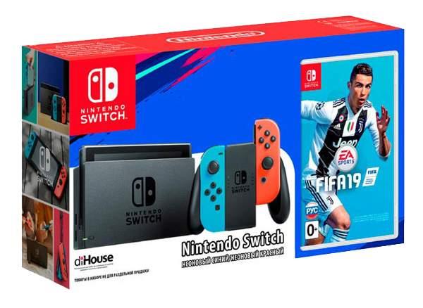 Портативная игровая консоль Nintendo Switch Red Blue + FIFA 19