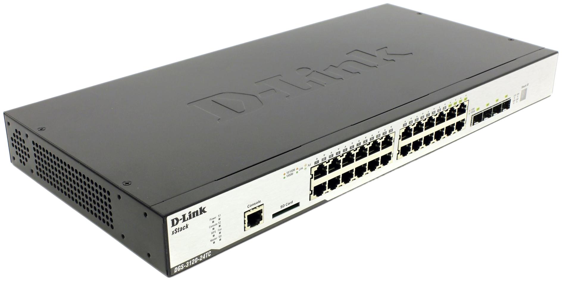 Коммутатор D-Link xStack DGS-3120-24TC/B1ARI Серый, черный