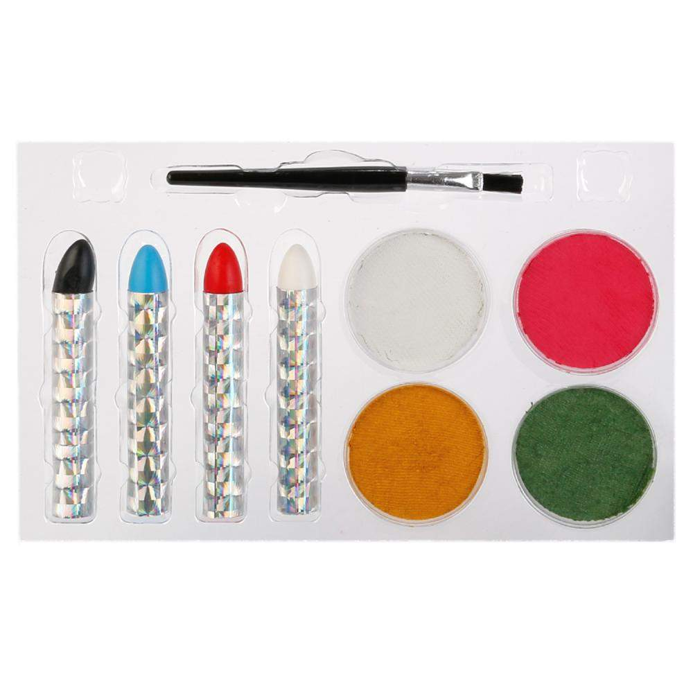 Аквагрим MultiArt 4 цв, краски, кисточка, 4 карандаша, трафареты