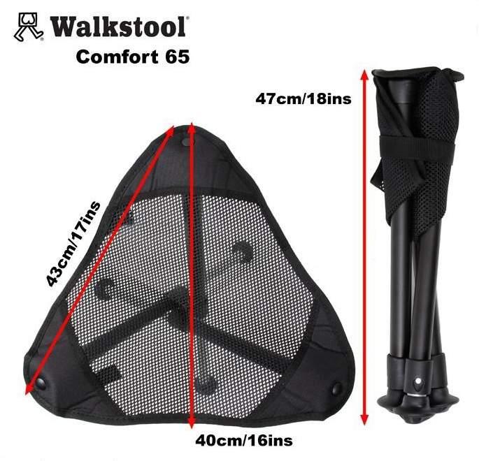 Туристический стул Walkstool Comfort 65 XXL черный/белый