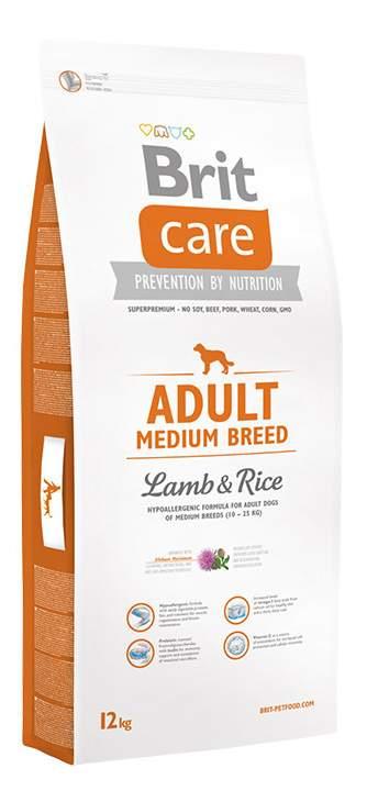 Сухой корм для собак Brit Care Adult Medium Breed, для средних пород, ягненок и рис, 12кг