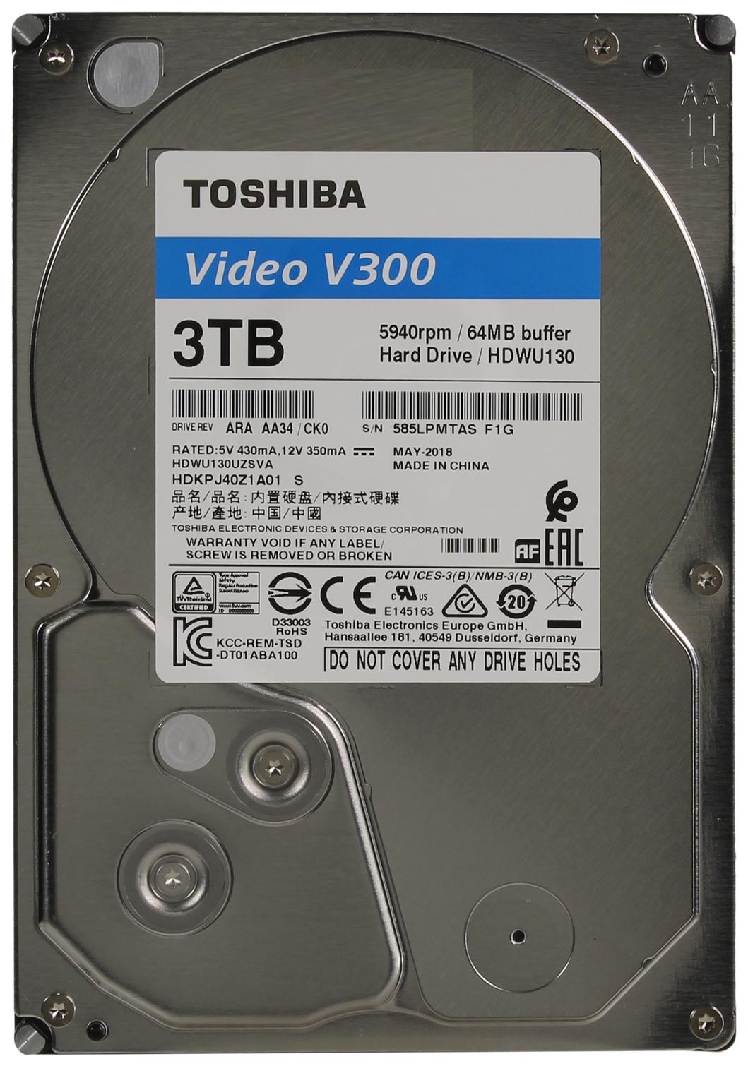 Внутренний жесткий диск Toshiba Video V300 3TB (HDWU130UZSVA)