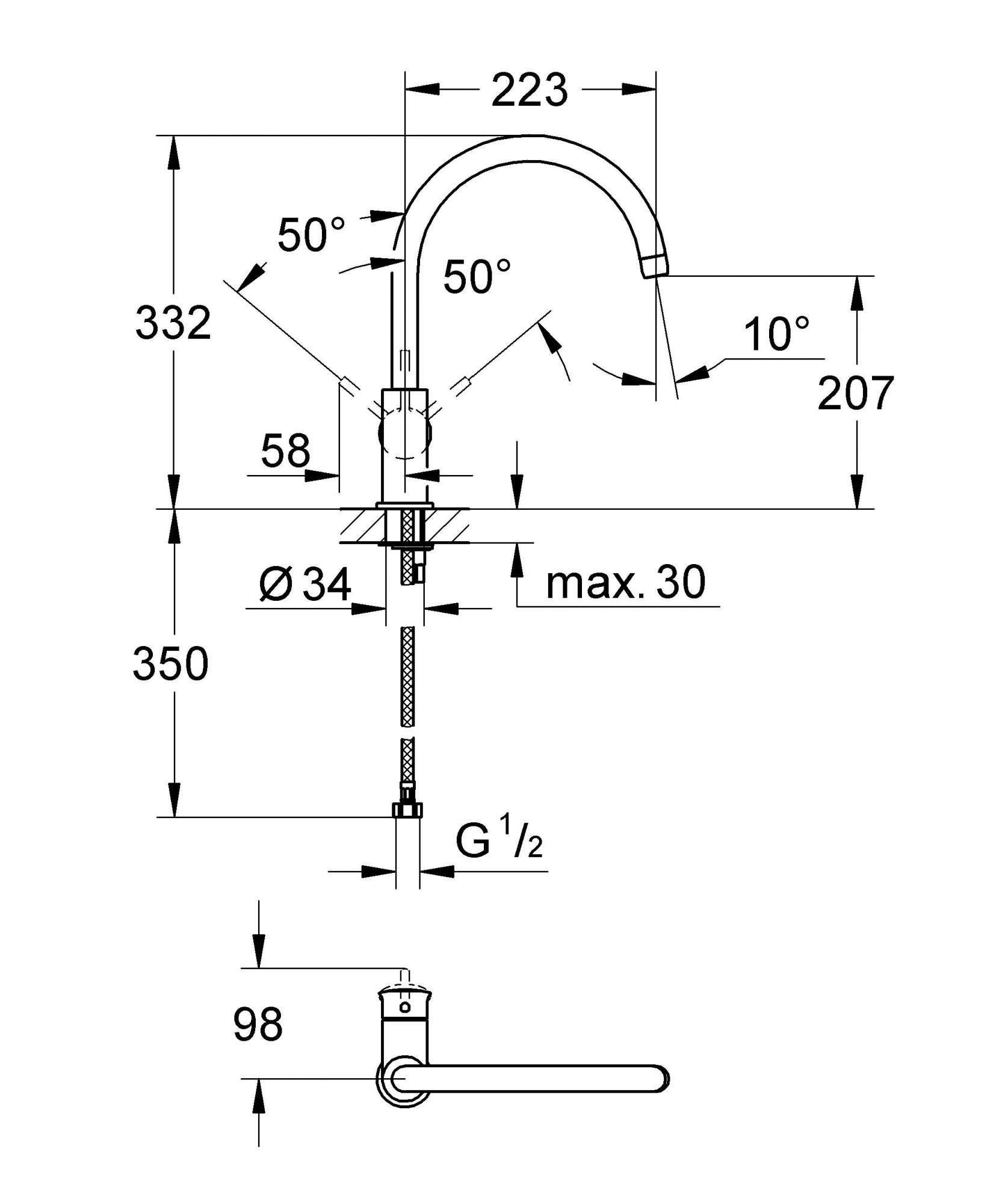 Смеситель для кухонной мойки Grohe BauClassic 31234000 хром