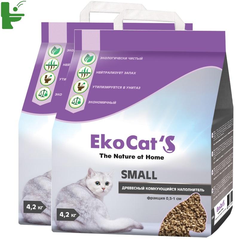 Комкующийся наполнитель Eko Cat's Small древесный, 4.2 кг, 10 л, 2 шт
