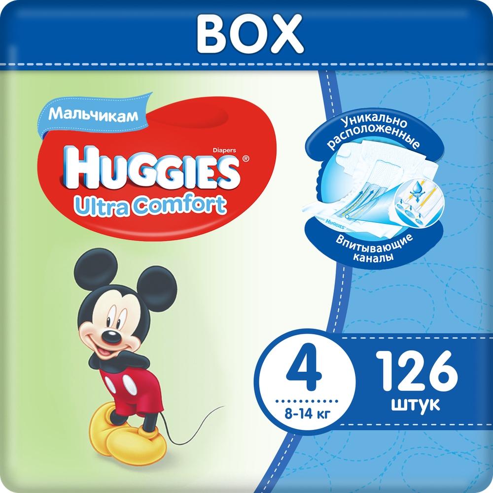 Миниатюра Подгузники Huggies Ultra Comfort для мальчиков 4 (8-14 кг), Disney Box, 126 шт. №1