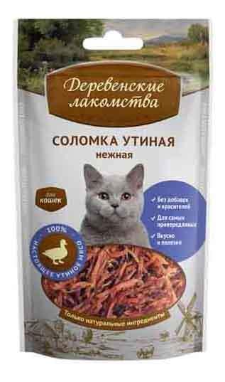 Лакомство для кошек Деревенские лакомства Соломка утиная нежные, 50г
