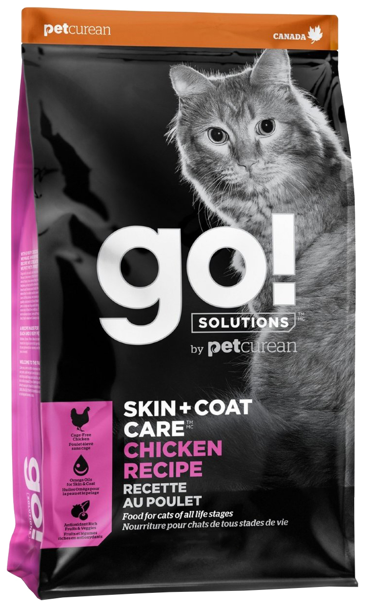 Сухой корм для кошек и котят GO! Solutions Skin Coat Care, курица, овощи, 7,26кг