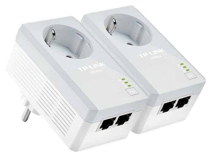 Комплект сетевых 2-портовых адаптеров Powerline AV500 со встроенной розеткой