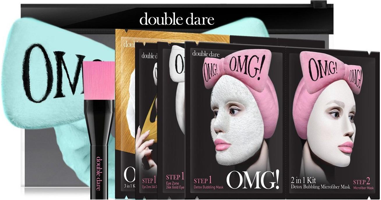 Тканевая маска Double Dare OMG! Набор SPA из 4 масок, кисти и лавандового банта