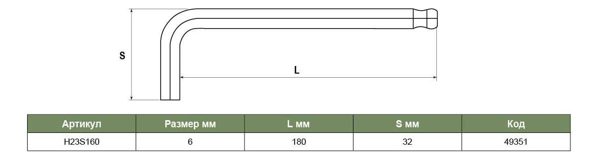 Торцевой Г-образный ключ JONNESWAY H23S160