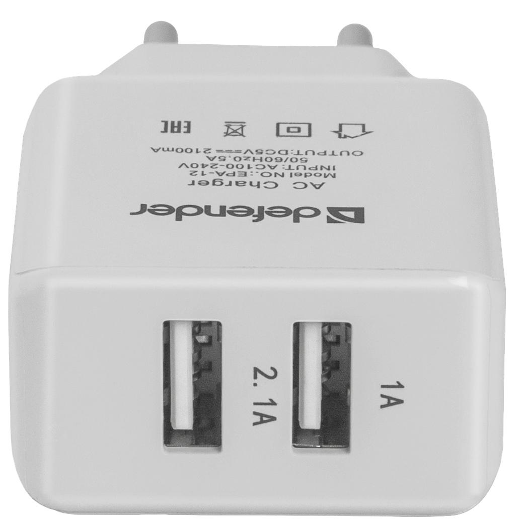 Сетевое зарядное устройство Defender EPA-12 2 USB 2A White