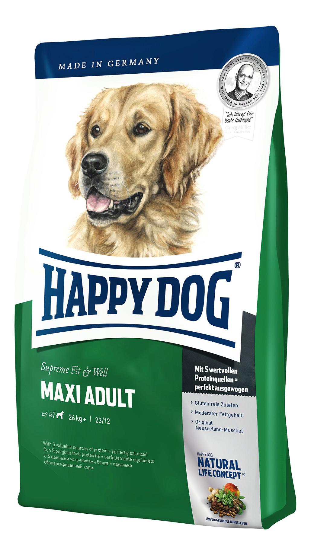 Сухой корм для собак Happy Dog Supreme Fit & Well Maxi, крупные породы,домашняя птица,15кг